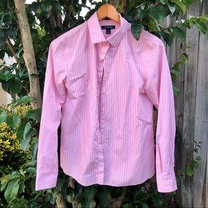 Lands' End No Iron Supima Shirt Pink Stripe